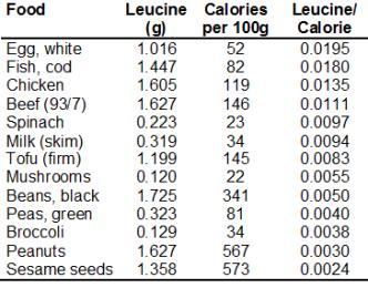 leucine calorie